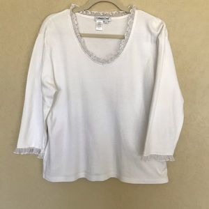 Coldwater Creek Ruffle Trimmed Tee 3/4 Sleeves